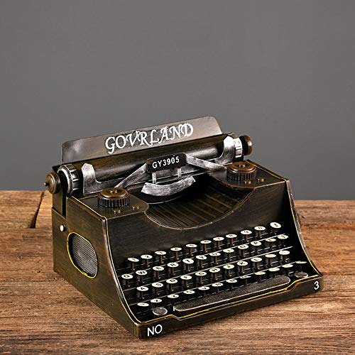 WANGXINQUAN Decoración de arte para máquina de escribir, modelo de sala de estar, TV, gabinete de vino, decoración para el hogar, manualidades, 35 x 25 x 19 cm