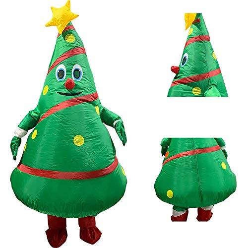 WANGIRL Aufblasbarer Anzug Aufblasbares Weihnachtsbaum Kostüm Erwachsene Weihnachten Dekoration Requisiten Fasching Karneval Fancy Dress Cosplay Outfit Park Inflatable Costume,Grün Kleider