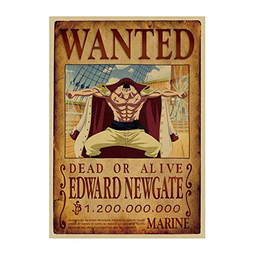 kijighg One Piece/Luffy Zoro Barbe Blanche/Bande Dessinée Japonaise Classique/Papier Kraft/Affiche De Barre/Affiche Rétro/Peinture Décorative 51X35.5Cm