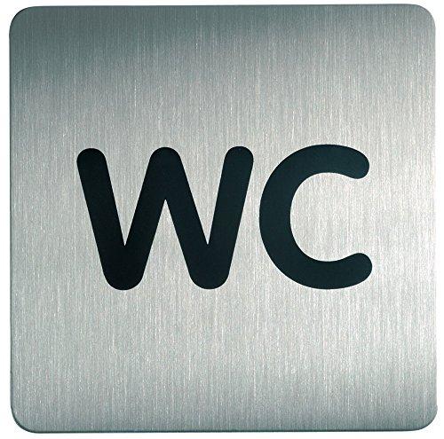 Durable 495723 Pictograma WC, cuadrado, 150 x 150 mm, acero inoxidable
