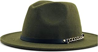 Fashion Sun Hat for Men Women Fashion Wool Fedora Hat Chain Leather Belt Outdoor Wool Felt Hat Panama Hat Jazz Hat Suitable for hot Weather Season (Color : Green, Size : 56-58CM)
