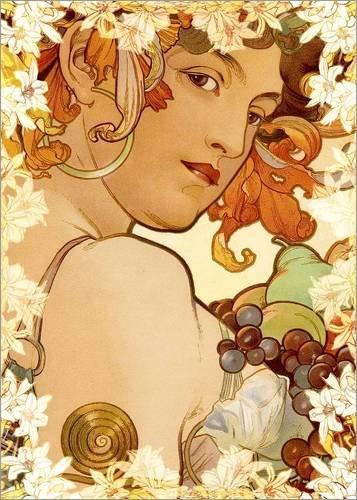Posterlounge Acrylglasbild 30 x 40 cm: Früchte, Detail dekorativ von Alfons Mucha - Wandbild, Acryl Glasbild, Druck auf Acryl Glas Bild