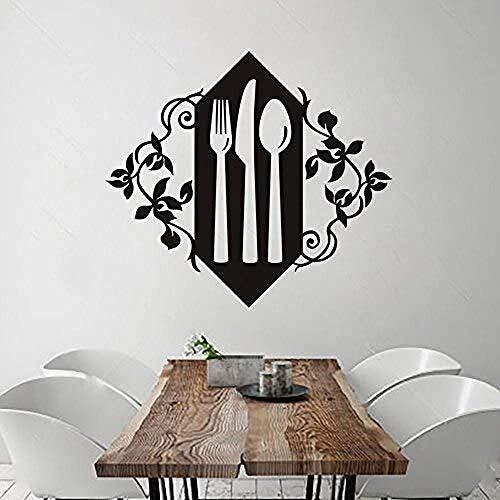 Keukenservies PVC Muren Folk Mes en Lepel Kunst Behang Decor Western Restaurant Koffie Shop Muursticker 57 X 64Cm