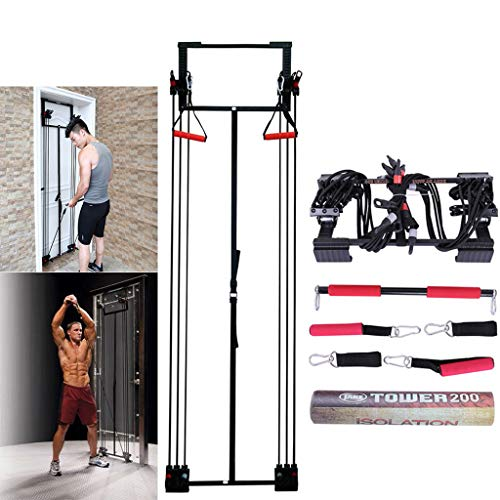 Micozy Tower 200 Full Gym Fitness Door Trainer Tension Trainer Free Straight Bar - Develop Total Body Strength and Lean Muscle