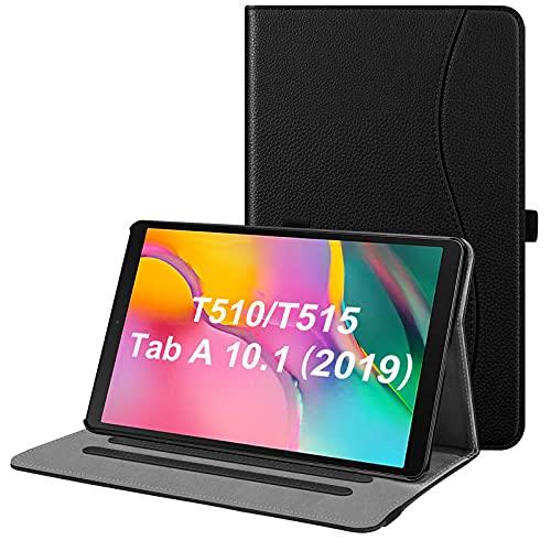 Fintie Hülle für Samsung Galaxy Tab A 10,1 2019 - Multi-Winkel Betrachtung Kunstleder Schutzhülle mit Dokumentschlitze für Samsung Tab A 10.1 Zoll SM-T510/T515 2019 Tablet, Schwarz