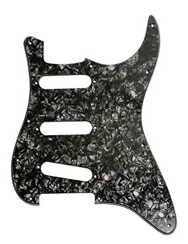 E-Gitarre Pickguard 3-lagig 11Löcher SSS für Fender Standard Stratocaster Modern Style Gitarre Teile Black Pearl