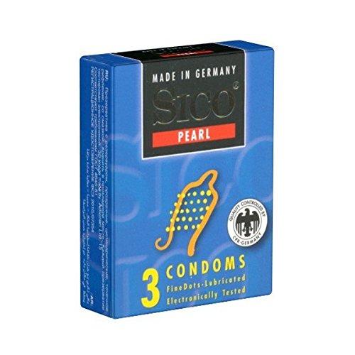 Sico Pearl - 3 Kondome Kleinpackung - Kondome mit zarten Noppen für maximale Gefühlsintensität