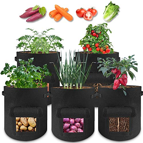 Grow Bags 10 Gallon - 5 Pack Potato Grow Bags Two SidesVelcro Window Vegetable Grow Bags, Double Layer Premium Breathable Nonwoven Cloth for Potato/Plant Container/Aeration Fabric Pots with Handles