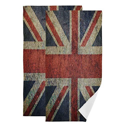 Mnsruu Toallas de baño de la bandera británica Grunge Inglaterra de secado rápido, altamente absorbentes, toalla súper suave para deportes, spa, viajes, hotel, yoga 36,5 x 72 cm (paquete de 2)