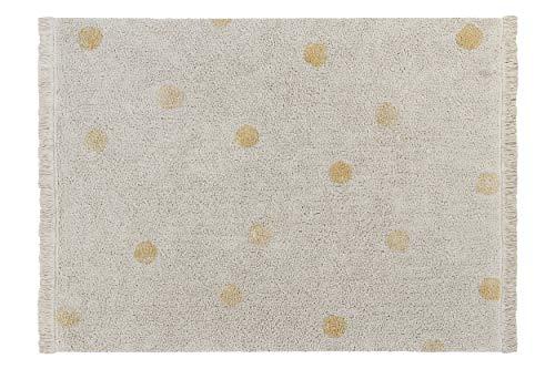 Lorena Canals - Alfombra Lavable Hippy Dots Natural - Honey - Natural, Miel - 97% algodón 3% Otras Fibras. Base: Algodón Reciclado - 120x160 cm