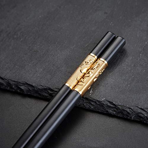Youda 5 Paia di Bacchette di Alta qualità in Lega, Stile Classico Riutilizzabile, Bacchette Cinese Impostato, Sicurezza Lavastoviglie (Cinesi Dragon)