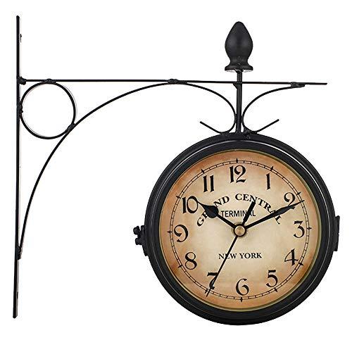 ALLOMN Reloj de Pared de Doble Cara, Reloj de pie Retro Reloj de Pared Clásico Retro Europeo Reloj de Decoración Colgante Reloj de Silencio con Batería Movimiento 21.8 * 21.8cm