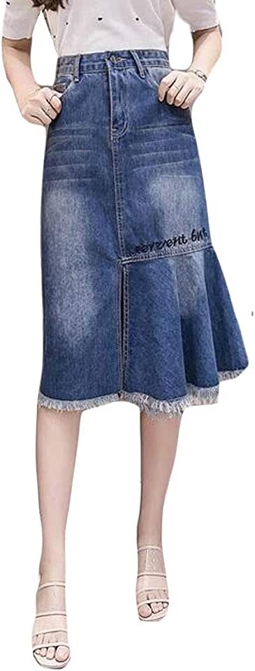 Fubotevic Womens Fringes Letter Print High Waist Patchwork Denim A-Line Skirt