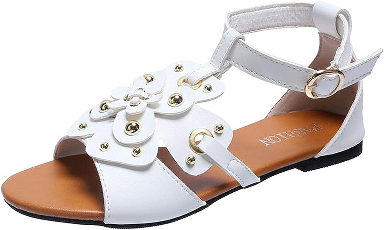 ZiSUGP Women's Fashion Large Size Flat Bohemian Metal Buckle Casual Sandals