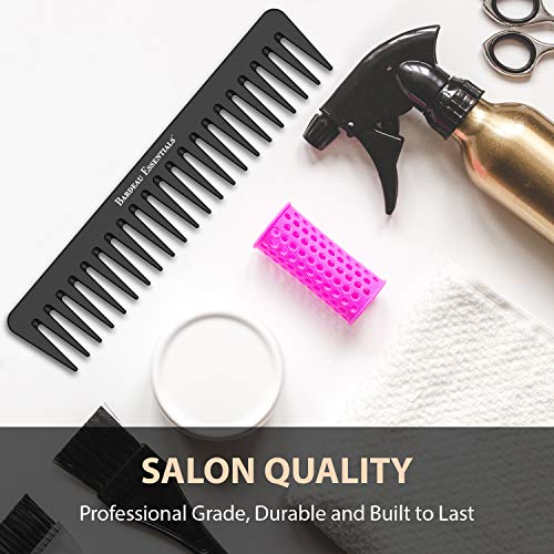 7 Inch Detangling Comb | Black Carbon Fiber | Large Wide Tooth Detangler Comb | For Straight or Curly Hair | Wet or Dry Hair | Professional Grade Styling Comb for Men and Women (Single Black)