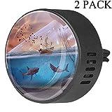 Lurnies Acuario Velero Tiburón Ambientador para automóvil aromaterapia difusor de Aceite Esencial con Clip de ventilación (2 Paquetes) con Cristal Almizcle Blanco
