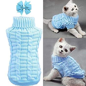 Dog Cat Sweater Warm Braid Plait Turtleneck Knitwear Soft Fall Pullover Winter Pet Clothes for Dog Puppy Kitten Cat  XS Blue