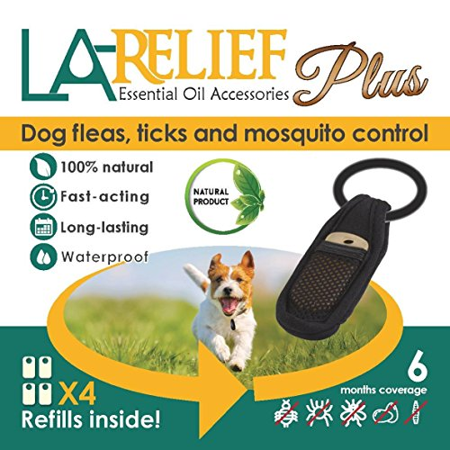 La Relief Flea & Tick Collar Clip for Dogs and Mosquito Repellent - 100% All Natural, Deet-Free, Waterproof, Safe for All Pets.