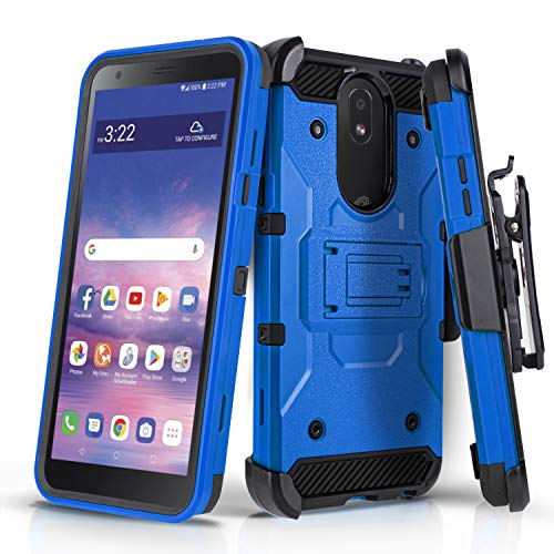 CasemartUSA Phone Case for [LG Journey LTE (L322DL)], [Tank Series][Blue] Cover with Built-in Kickstand & Holster Belt Clip for LG Journey LTE (Tracfone, Simple Mobile, Straight Talk, Total Wireless)