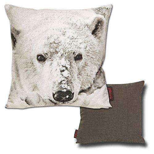 JEMIDI Kissenhülle Tiere & Wildfell - Fellkissen Bezüge Kissen Hülle Sofa Deko Hüllen Wald Winter (Polarbär, 40cm x 40cm)