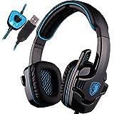 SADES SA901 7.1 de Sonido Envolvente estéreo Pro USB PC Gaming Auriculares Cinta de Cabeza de los Auriculares con micrófono Deep Bass Over-The-Ear Control de Volumen para Jugadores de PC (Azul)