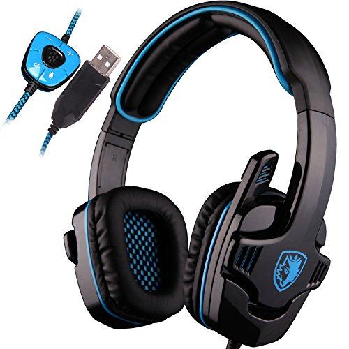 SADES SA901 7.1 Surround Sound USB Pro Gaming gioco cuffie Mic a distanza per PC Laptop Deep Bass, Controllo del Volume(blu)