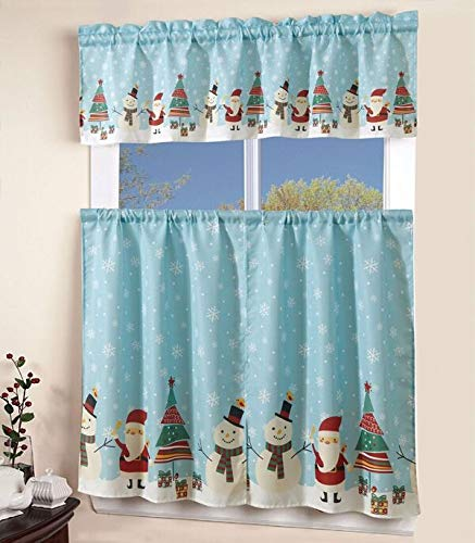 """3 Piece Kitchen Curtain Linen set with 2 Tiers 27"""" W (Each) x 36"""" L and 1 Tailored Valance 54"""" W x 15"""" L, North Pole Christmas Holiday Season Santa Christmas Tree Snow Man Flakes Kitchen Curtain Décor"""