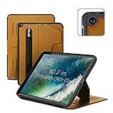 ZUGU iPad 10.2 Hülle 2021 / 2020 / 2019, schlanke Schutzhülle für die iPad9 / iPad8 / iPad7, 8 Winkel-Ständer magnetisch, Stifthalter, Auto Sleep /Wake UP [Braun]