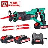 HYCHIKA Cordless Reciprocating Saw 20V 2Ah 2 Batteries 4 Saw Blades, 0-2800SPM Variable Speed, 7/8' Stroke Length Tool-Free Blade Change LED Light for Wood Metal Cutting Pruning …