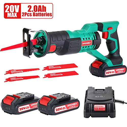 HYCHIKA Cordless Reciprocating Saw 20V 2Ah 2 Batteries 4 Saw Blades, 0-2800SPM Variable Speed, 7/8