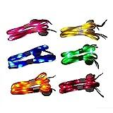 LED Schnürsenkel - 6 Paar High Visibility Soft Nylon Leuchten Schnürsenkel mit 3 Modi in 6 Farben für die Nacht Sicherheit Running Biking oder Cool Disco Party, Cosplay, Hip-Hop-Tanz