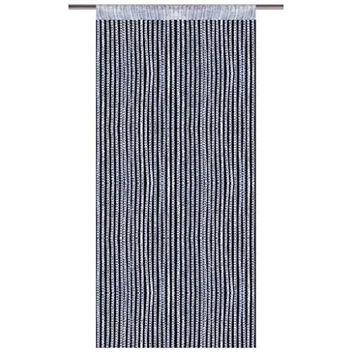 Arsvita Fadenvorhang Metallik-Optik mit Stangendurchzug, Türvorhang 140x250cm (Silber)