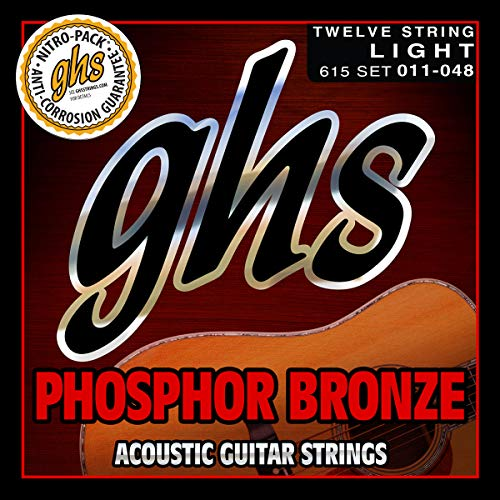 GHS Cuerdas 615Juego de 12Fósforo bronce Guitarra acústica cuerdas, luz