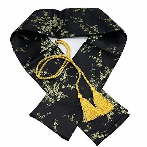 Panina Schwert-Tasche, 129,5cm, aus Seide, Pflaumenblüten-Muster, für japanische Schwerter wie Katana, Kurzschwerter, Tanto, Schwarz