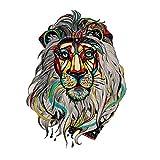 JUSTFOX - Tatuaje temporal con diseño de león colorido, adhesivo temporal, arte...