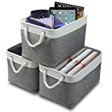 Syeeiex Large Rectangular Storage Bin 15'x10.3'x9.5',Durable Baskets for Storage,Decorative Collapsible Cube Storage Basket with Sturdy Cotton Carry Handles for Cube,Sundries,White & Beige Set of 3.