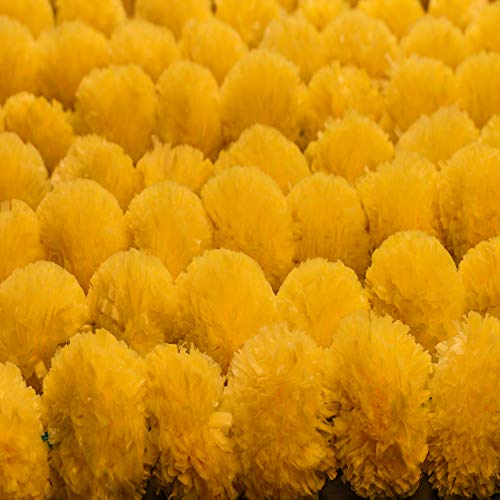 Krati Exports - 5 feet Marigold Garland |Indian/American Wedding Party Mantle Decoration, Faux Garlands Wedding Garland, Diwali Decoration, Spring Bush Floral! (Yellow, 10)