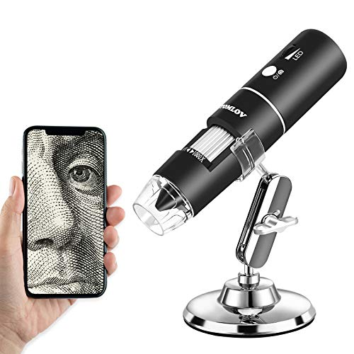 TOMLOV Wireless Digital Microscope 50X-1000X Magnification WiFi Microscope 2MP 1080P USB PC Connection Compatible with iPhone/Mac and Android/Windows
