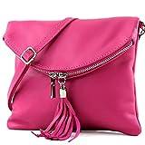 modamoda de - T139 - ital Umhängetasche Klein aus Nappaleder, Farbe:T139 Pink