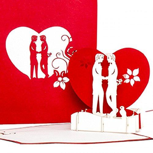 """Pop Up Karte\""""Gay Boys in Love - Schwule Liebe\"""" – 3D Hochzeitskarte, Valentinskarte & Einladungskarte zur schwulen Hochzeit - Geschenk & Geschenkidee zum Valentinstag"""