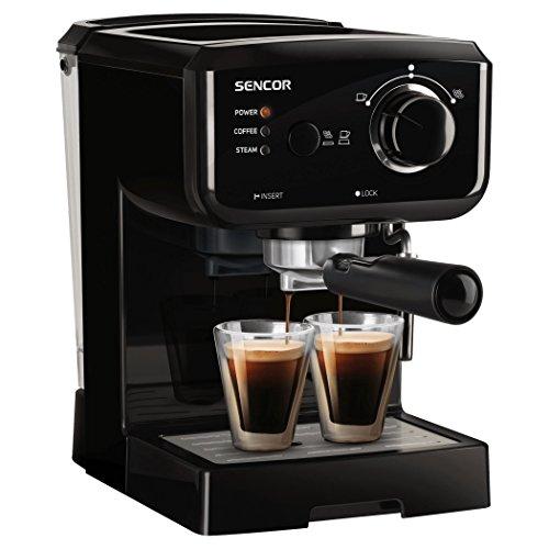 SENCOR SES 1710BK ekspres do kawy (1140 W, espresso, cappuccino, pompa ciśnieniowa 15 bar, czajnik grzewczy, obudowa ze stali nierdzewnej), czarny