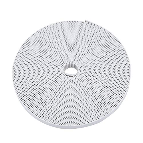6mm Width Timing Belt for 3D Printer, 2GT Driver Belt Length 10 Meters/ 32.8 Ft Open Belt Rubber Strong Abrasion & Low Noise for 3D Printers Intelligent Plotter (White)