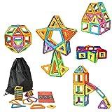 DealKits Magnetische Bausteine, 80 TLG Magnet Bausteine Konstruktion Blöcke, Magnetspielzeug Lernspielzeug mit 30 TLG Alphabet, 3D Buchstabe Pädagogische Spielzeug, Geschenk für Kinder ab 3 Jahre