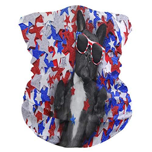 LIUBT Bandana máscara de protección contra el polvo al aire libre para deportes al aire libre, para la cabeza, sol, motocicleta, divertido, Bulldog, con gafas de bandera estadounidense, estrellas azul y rojo, bufandas para mujeres y hombres