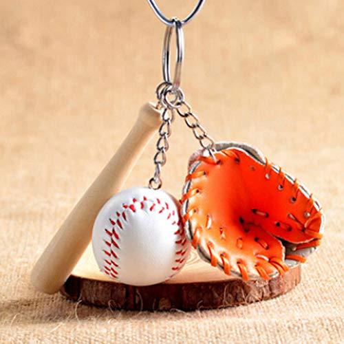 FHTMTY Mode Mini 1 Pcs Baseball Handschuh Holz Schlüsselbund Sportwagen Schlüsselanhänger Schlüsselring Geschenk Für Mann