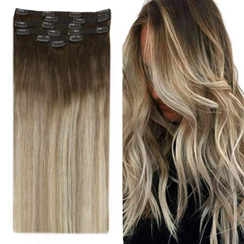 YoungSee Extension Clip Capelli Veri Ombre Marrone Scuro per Biondo Cenere Scuro con Biondi Balayage Extension a Clip Capelli Veri Lisci Full Head Clip in Remy Human Hair Extensions 7pcs/120g 35 cm