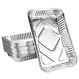 Kbnian 25 pcs Bandejas Aluminio Desechables Bandejas para Barbacoa Bandeja de Aluminio para Horno Rectangular 31.6 * 21.2 * 4.2cm para Barbacoa Cocinando Congelación Picnic Servicio de Comida - Plata
