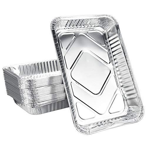 KBNIAN 25 XL-Aluminium-Tropfschalen | 25 Aluschalen | 32 x 22 cm, 2100 ml | groß, rechteckig, hitzebeständig