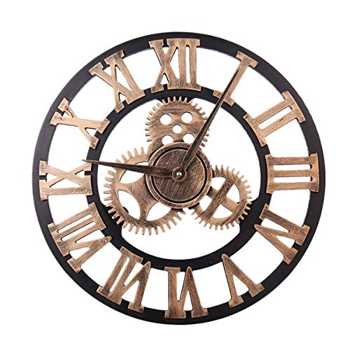 Best-ycldcyp Noiseless Silent Gear Roman Numeral Wall Clock Large 3D Retro Rustic Country Decorative Luxury Art Big Wooden Vintage Steampunk Industrial decor for House Warming Gift
