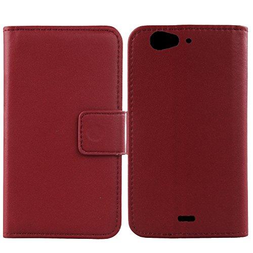 Gukas Design Echt Leder Tasche Für Wiko Darkfull Hülle Handy Flip Brieftasche mit Kartenfächer Schutz Protektiv Genuine Premium Hülle Cover Etui Skin Shell (Dark Rot)